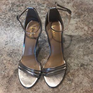 Size 9 Lulu's Silver Strappy Heels